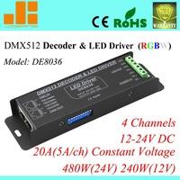 Free Shipping 4channels LED RGBW Controller DMX LED Decoder & Driver 12V DMX Controller  DE 8036