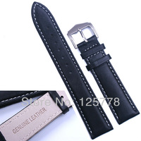 22 mm BLACK Genuine Leather WatchBand White Stitched Water proof Bracelet Solid band Stainless Steel Buckle Clasp Free Shipping