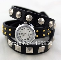 Hot ! Watch wire nail ring winding leather bracelet female watch winter casual women's watch