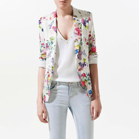 ZALA CHIC LONG SLEEVE SLIM FIT FLORAL PRINTS BLAZER JACKET Free Shipping W4087