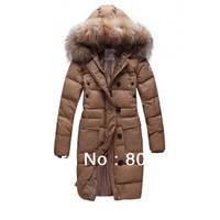 2014 Brand New Long Duck down Jackets Women's Fox Fur Collars Coats Fashion Lady Parkas Black / Khaki Top Quality  Free Shipping
