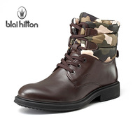 High quality 2013 Camouflage genuine leather winter boots male califs thermal 07 combat boots martin boots male boots