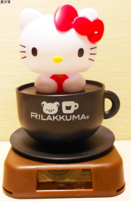 Solar doll with base plate coffee cup cartoon kt cat gift car decoration(China (Mainland))