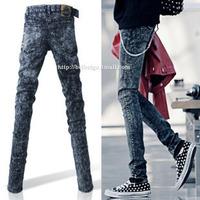 Male jeans skinny pants pencil pants slim jeans male pants dark gray