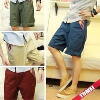 Shorts buku casual pants pocket water wash male shorts knee-length pants