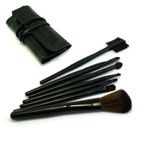 Free Shipping 7 Pcs Black  Pro Makeup Brushes Set Cosmetic Facial Make up Brush Kit Tools Set + PU Leather Case Bag