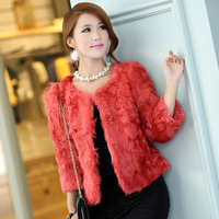 Free shiping 2013 women's slim short design berber fleece o-neck 7 fur wool coat
