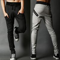 Sports pants pocket color block male trousers casual pants harem pants trousers slim all-match