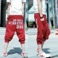 Male loose capris 398 letter hiphop jeans hip-hop pants casual sports male capris