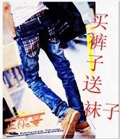 2013 Men men's slim jeans trousers plaid pants trousers autumn and winter