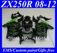 Injection Molded for KAWASAKI Ninja 250R ZX250R ZX250 08 09 10 11 12 EX250 2008 2012 green flames black Fairings bodywork KH2