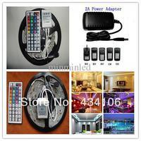 Free shipping 5m/roll SMD 3528 RGB Waterproof 300 LED 120degrees led light strip + 44 key IR Remote+2A EU DC 12V power supply