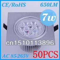 50Pcs  Free Shipping   Wholesale / retail cheap sale   7W  Led  Downlight  Bulbs  Lights   AC85~265V  CE/RoHS cree