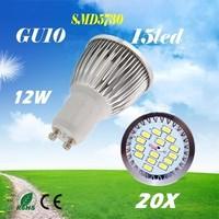 20X  High Power  SMD5730 15LED  GU10 /  MR16  / E27 / E14  AC85-265V 12W   Led Light Bulbs FreeShipping
