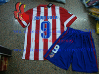 A+++ Top Men Spain Atletico Madrid Athletico 9# David Villa Kit Thai Soccer Jersey Camisetas De Futbol Suit Football Shorts