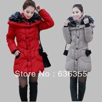 2013 women's medium-long large fur collar thickening slim down coat down coat BT52000 Free shipping