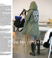 HOT  sell 3 Colors  2013 New Women's Mesh Skull Skeleton Punk Military Green Style Jackets with Hoodies Slim Waist skull coat