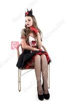 Luxury charming Queen of Hearts Halloween Costume Deluxe Enchanting Queen of Hearts Women Costume Halloween Fancy Dress M L XL
