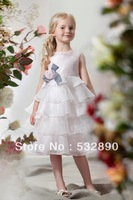 DHL Free shipping new design a-line Charming tank multi-layer white organza flower girl dresses short with bow new arrival