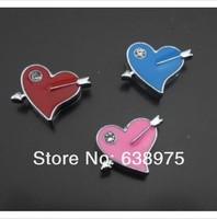 100pcs heart Slide Charm can fit the wrtstband