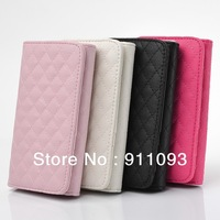 Free shipping PU Wallet Luxury Flip Pouch Case Cover For Apple iPhone 4 4S & 5  5S