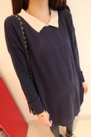 9.11 2013 autumn women's the appendtiff turn-down collar block color medium-long knitted sweater one-piece dress