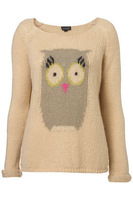 Fashion owl design beige long knitted sweater