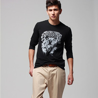 Male t-shirt 2012 long-sleeve T-shirt teenage slim print t019