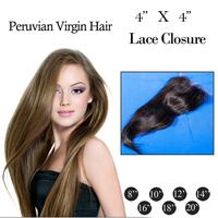 "Manka Hair : Cheapest Virgin Peruvian Hair Middle Part Lace Top Closures 4x4""Swiss Lace Closure Straight Hair ,Free Shipping"