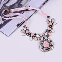 2014 New Fashion New Design Pink Imitation Gemstone Rhinestone Flower Ribbon Necklace N1267