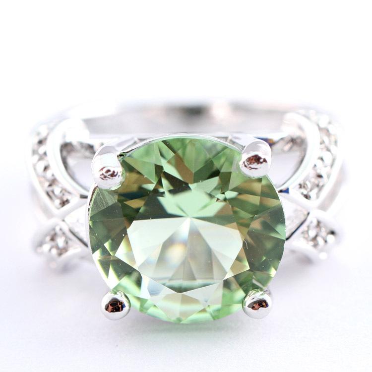 Round Cut Green Amethyst White Topaz Silver Ring Sz 6 7 8 9 R1 00328