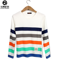 2013 autumn male o-neck long-sleeve T-shirt candy color horizontal stripe personalized fashion long-sleeve stripe t-shirt male