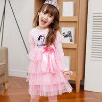 New girls dresses princess patterns children clothing party dress Cartoon design lace long sleeve kids dress