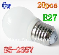 20X E27 6W  85-265V Led Globe bubble Ball Lamp lighting High Power Led light Spotlight downlight Free Shipping
