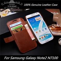 Top Genuine leather case for samsung galaxy note2,Original FADDIST flip wallet case for N7100,note 2 phone covers Free Shipping