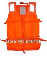 15pcs/lot Free ems Popular Orange Prevention Flood Foam Swimming Life Jacket Vest+Whistle for Adult