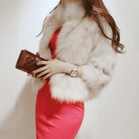 Free Shipping 2013 New Fashion Winter Warm Fur Coat Three Quarter Sleeve Outwear Women Short Coat Large Size