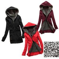 Hot Sale 2014  Faux fur lining women's winter warm long fur coat jacket clothes wholesale