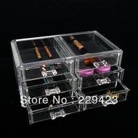 Free shipping 24x15x11cm Triplex Fashion Clear Acrylic Crystal Cosmetic Organizer Makeup Case Holder Storage Box Gift Box