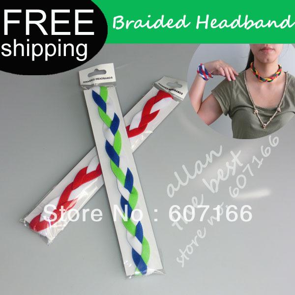 Custom woman Braided Mini Headbands Soft Nylon headband Silicone Headwear keep the band in place(China (Mainland))