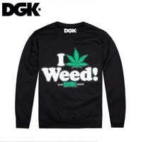 Freeshipping hiphop DGK i weed ! all day DGK everyday  Sweatshirts  classic  mens  sweater  coat  black  and grey