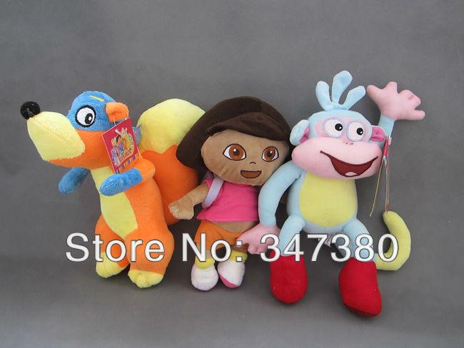 Hot Sale Dora 10sets/lot the Explorer DORA & Monkey &Fox DIEGO 12'' Plush Dolls Toy Christmas Gifts Ems Free Shipping(China (Mainland))