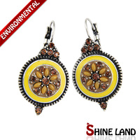 2014 New Arrival Women Party Dresses Ethnic Shiny Crystal Round Flowers Statement Clip Earrings Jewelry