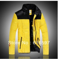NEW Winter men's jacket YELLOW/ORANGE Thickening Keep warm Fashionable down Jacket Men Short Coat Free shipping