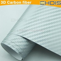 silver color 3d carbon fiber vinyl wrap film with air drain high quality auto turning color change film