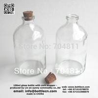 66pcs/lot 100ml glass bottle with cork stopper