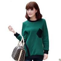 Free shipping new 2013 women's fashion autumn -summer sport outwear patchwork long-sleeve basic hoody patchwork sweatshirt