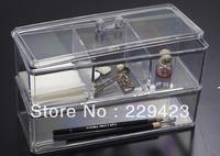 acrylic transparent cosmetic storage 23.3x9.4x14.8cm makeup jewelry cotton organizer swab display box makeup organizer pad