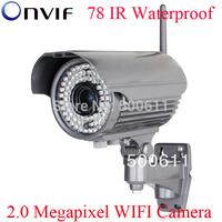 Onvif 2.0 Megapixel 1920x1080 1080P Full HD 78 IR Waterproof Network Wireless WIFI IP Camera