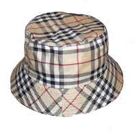 Male women's hat advertising cap sunbonnet travel bucket hat cap double faced khaki check